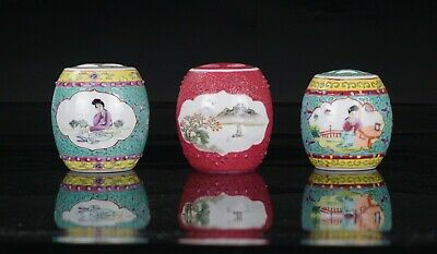 Group of 3 Chinese Famille Rose Porcelain Drum Shaped Jar Vase and Lid 20th C