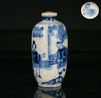 Antique Chinese Blue and White Crackle Glazed Porcelain Snuff Bottle 19th C QING