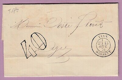 Vias Herault Taxe 40 Cad Type 18 Agde 1876 Lettre Cover