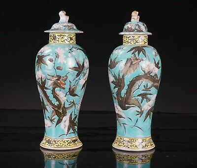 Pair Antique Chinese Famille Rose Porcelain Dragon Vase Lid DAYAZHAI Style 19thC