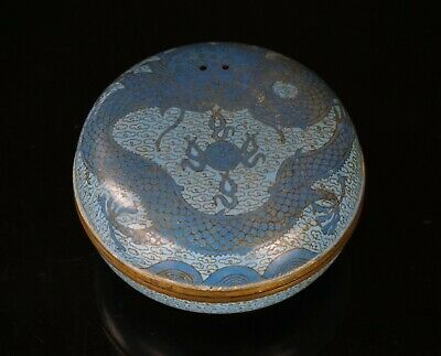 Antique Chinese Blue Cloisonne Dragon Ink Seal Paste Box 19th C QING
