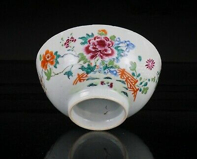 Antique Chinese Famille Rose Porcelain Flower Bowl 18th C QING