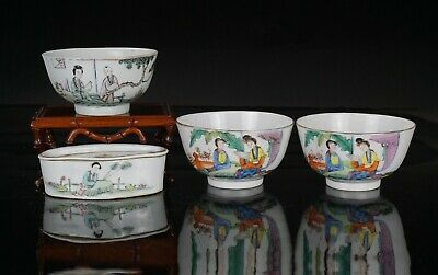 Group Antique Chinese Famille Rese Porcelain Bowls Soap Case WAX SEAL c1920