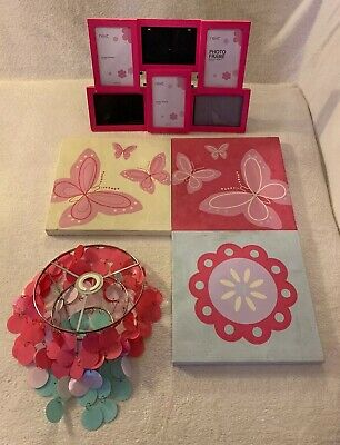 Girls Next bedroom bundle pink butterfly flowers Light Shade Canvases Photoframe