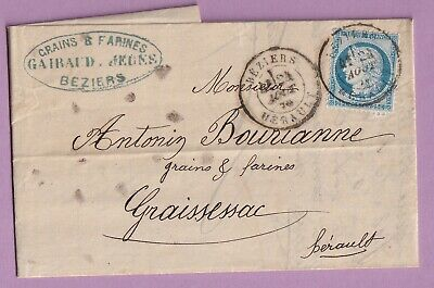 N°60 Cad Type 18 Beziers Herault Graissessac Lettre Cover