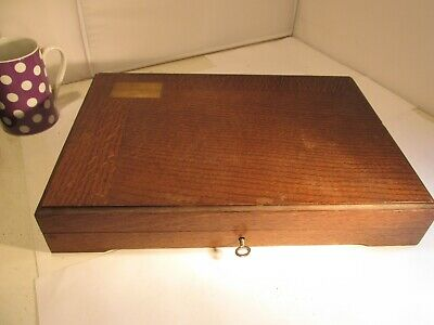 oak and brass cutlery box with key c1920s