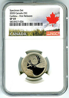 2020 Canada 25 Cent Ngc Sp69 First Releases Frosted Caribou Quarter Rare