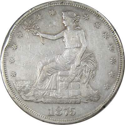 1875 CC $1 Trade Silver Dollar Coin VF Very Fine Details