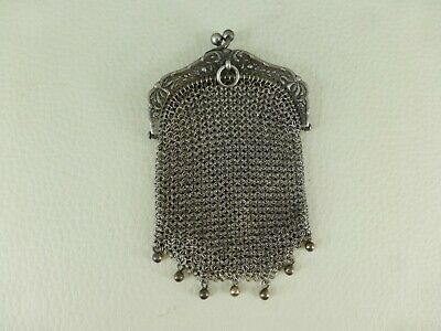 antique fench sterling silver finger chatelaine coin MESH PURSE lot n°6