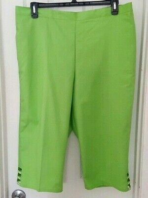 Alfred Dunner Womens Pants Size 18P Green Capri Classic Fit Turks & Caicos New