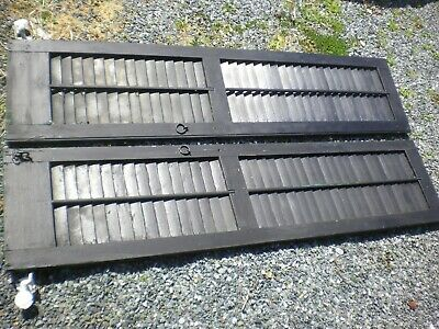 Antique Wood Louvered Exterior Shutters w/ Hinges, Shutterdogs & Iron Hardware