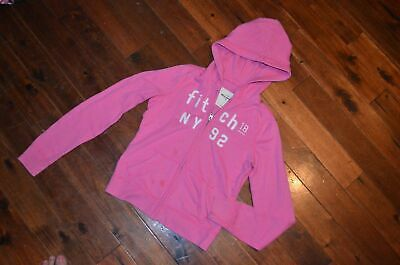 Girls Juniors Abercrombie & Fitch Large L Pink Zip up Hoodie JAcket LOGO CUTE!!