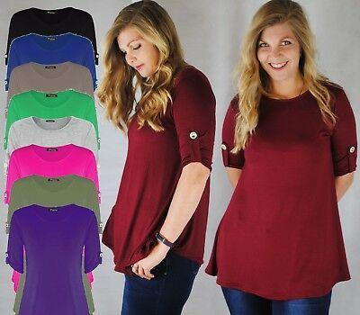 Ladies Jersey Style Long Round Neck Top Short Sleeve W Button Fit & Flare 8 - 20