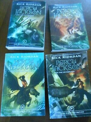 Lot of 4 Percy Jackson and the Olympians Series Rick Riordan Volumes 1 -4 PB