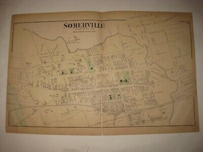 Antique 1873 Somerville North Part Somerset County New Jersey Handcolored Map Nr
