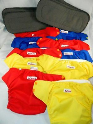 10 Blueberry Cloth Diapers + 10 Liners Gently Used Red Blue Yellow