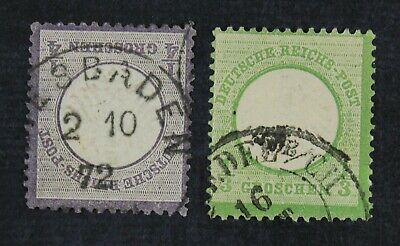 CKStamps: Germany Stamps Collection Scott#1 2 Used #1 Tiny Thin