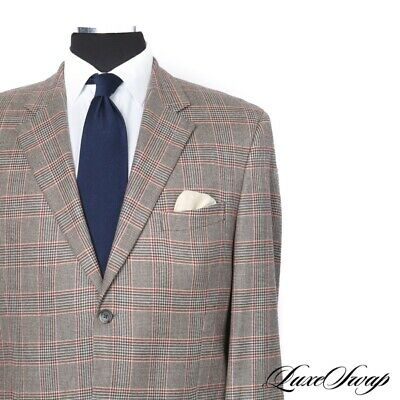 Jack Victor 100% Loro Piana Cashmere Taupe Flannel Red Check Grovewood Jacket 44