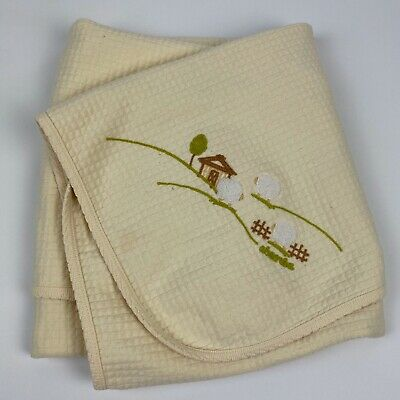 ABSORBA Light Yellow Baby Blanket Lovey Sheep Quilted Reversible 30x28