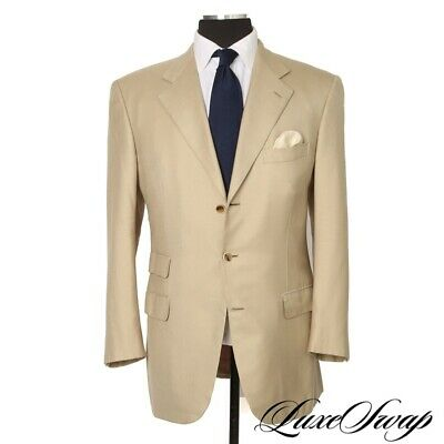 Brioni Made in Italy 70/30 Cashmere Silk Piuma Cut Tan Twill Spring Jacket 52 42