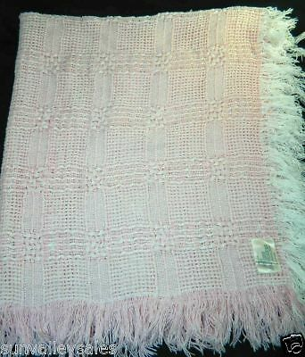 The Three Weavers Pink Baby Blanket Handwoven PInk White Fringe 100% Cotton