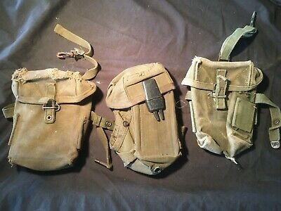3 x US ARMY AMMUNITION POUCHES, VIETNAM AND WW2.