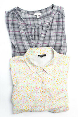 Worth Joie Womens Button Stripe Floral Plaid Tops Orange Green Size 12 M Lot 2