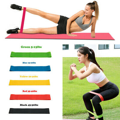 Resistance Bands Set or Singles - Exercise Glutes Yoga Pilates Home Gym Workout
