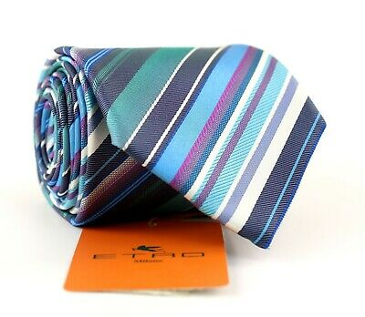 New ETRO Silk Necktie Tie Multi-Color Stripes NWT Made in Italy Current Slim