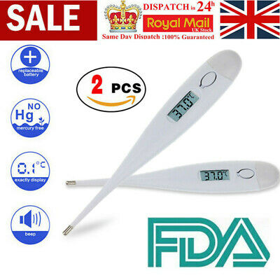 2x Digital Thermometer Medical LCD Display Oral Ear Underarm Audible Fever Alarm