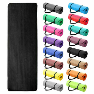 Yoga Mat EXTRA THICK 10mm 173cm x 61cm Non Slip Exercise/Gym/Camping/Picnic