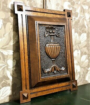 Scroll leaf fruit vase wood carving panel Antique french architectural salvage