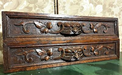 Pair hunting trophy wood carving pediment Antique french architectural salvage