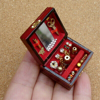 1/12 Dollhouse Miniatures Jewelry Wood Box /Doll Room Decor DIY House Accessory
