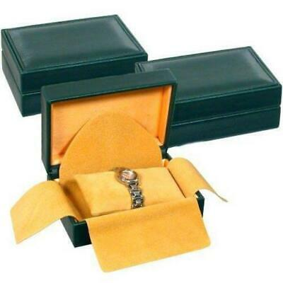 """3 Green Faux Leather Watch Bracelet Jewelry Display Gift Boxes 5 3/4"""" x 4 1/8"""""""