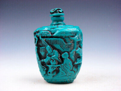 Turquoise Glazed Ancient Monks & Scenery Carved Snuff Bottle #03272003