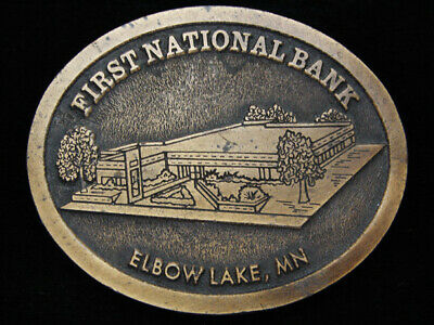 OC15101 VINTAGE 1970s **FIRST NATIONAL BANK ELBOW LAKE, MN** BRASSTONE BUCKLE