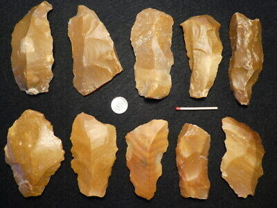 50.000Y.O:10 ARTIFACTS 99mms NEANDERTHAL FLINT STONE AGE PALEOLITHIC MOUSTERIAN