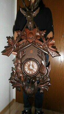 xxl original cuckoo clock black forest 8 day mechanical all hand carwed