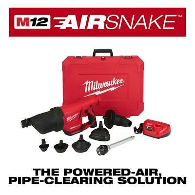 Milwaukee Drain Cleaning Air Gun Kit 12V Lithium-Ion Battery Toilet Attachments