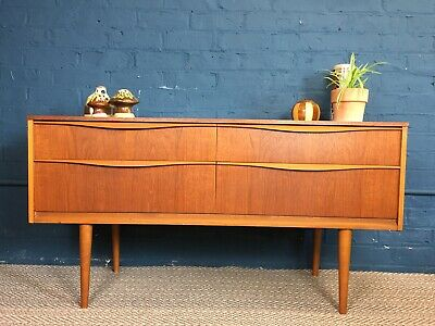 Retro Teak Compact Sideboard - Vintage TV Stand Mid Century Chest of Drawers 60s