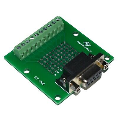 DB9 Female D-SUB 9 Pin Solderless Breakout Board to Screw Terminals, ST-206