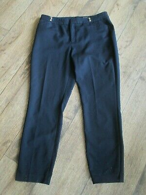 Ivanka Trump Size 12 Navy Blue Pants Gold Accents With Logo