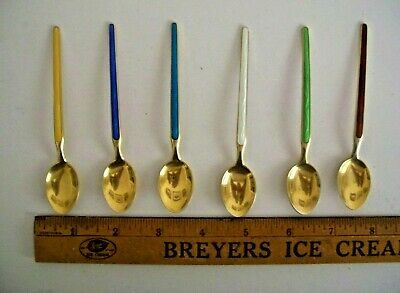 set 6 diff Aksel Holmsen Norway Sterling 925 Demitasse Spoon Enamel & Gold Gilt