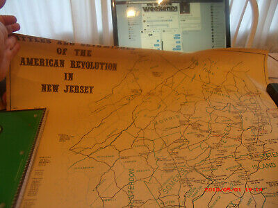 Rare State Of Nj Large 1974 Map.battles And Skirmishes Of The American Revolutio