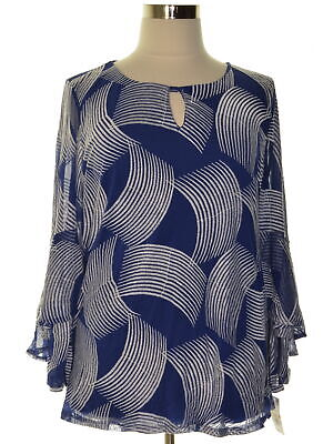 Alfani 9147 Plus Size 0X Womens NEW Blue Embroidered Blouse Top Mesh $99