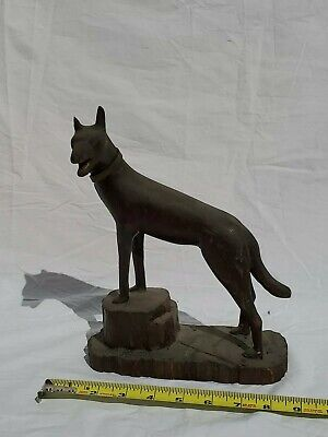 Antique carved dog AAFA Folk Art Wood
