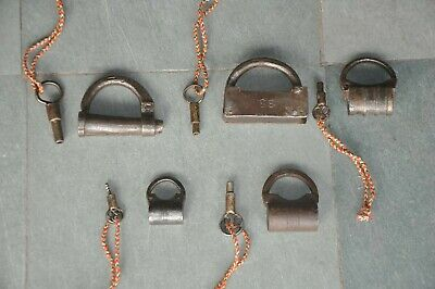 5 Pc Old Iron Handcrafted Different Screw System Padlocks , Rich Patina