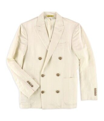 Canali Mens Solid Two Button Blazer Jacket, Off-White, 48 Regular