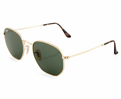 RayBan Hexagonal Flat Lenses Sunglasses - Gold Green Classic 3548N 001 51-21